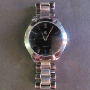 Silver with Black Face Watch